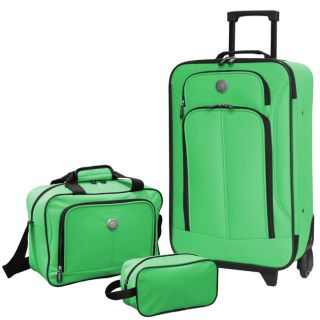 Travelers Club Euro Value Collection 3 Piece Carry on Luggage Set Lime