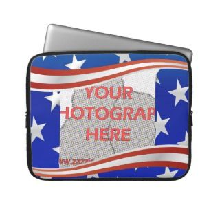 Stripes and stars photo frame template computer sleeve