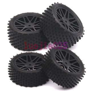 Off Road Car Buggy Front&Rear Tyre Tires & Wheel Rim Black 66020 66040