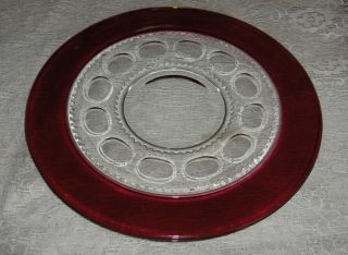 Vintage Tiffin Glass Ruby Flash King's Crown Thumbprint Torte Plate