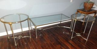 Vintage Italian steel / brass /glass coffee cocktail table Hollywood