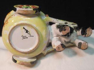 Vtg 50s Italian Art Pottery Donkey Cart Bitossi Fantoni Era Italy Hand