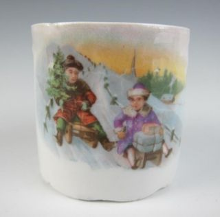 Antique Vintage German Childs Toy Cup 2 Children Sledding Christmas