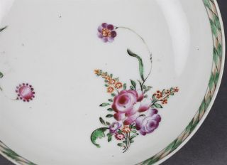 Stunning Antique Chinese Floral Painted Tea Cup and Saucer Qianlong