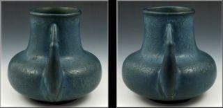 Beautiful Hampshire Art Pottery Handled Vase w Matte Blue Glaze