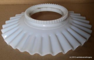 Glass Petticoat Crimped Oil Lamp Chimney Shade RARE Beaded Rim
