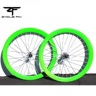 Bright Green Fixed Gear Fixie Bike Bicycle 50mm Deep V Wheelset Wheel