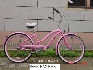 26 3 Speed Beach Cruiser Bicycle Bike Rover Pink