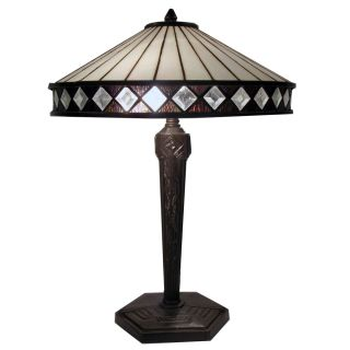 Stained Glass Table Lamp Clear Diamond Shapes Around Shade Rim