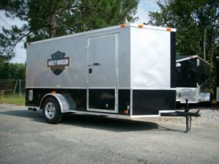 6x12 Single Motorcycle Enclosed Trailer w Harley Davidson Decals Blk