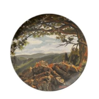Rocky Mountain View II Oil Landscape Painting Plate