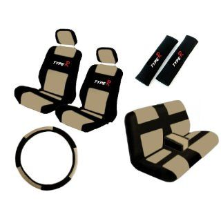 Waterproof Seat Covers Black & Tan Synthetic Leather Type R Steering