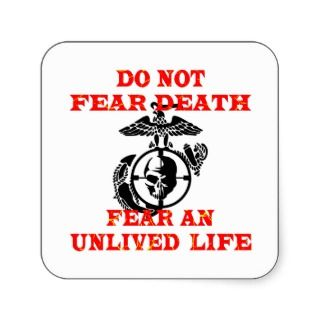 Sniper Eagle Globe & Skull Do Not Fear Death Fear Square Stickers