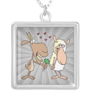 cute goat sheep love cartoon custom necklace