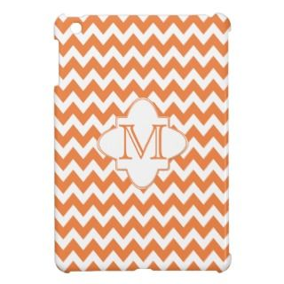Chevron Quatrefoil Monogram   Orange White iPad Mini Case