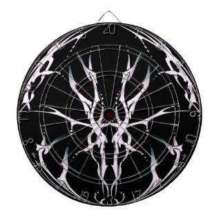 Deer Skull Tribal Tattoo Fantasy Black and White Dart Boards