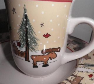 Ginger Creek Meiwa Art Coffee Mug Moose Log Cabin Bear