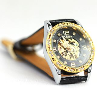 Gold Black Women Crystal Skeleton Dress Automatic Watch