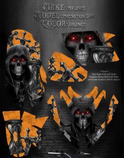 Polaris Orange Plastics Predator 500 Graphics Inevitable Death Skull