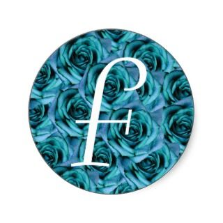 Monogram Letter F Blue Roses Sticker