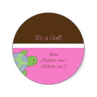 Round Address Labels Sea Turtle Pink & Brown Round Stickers