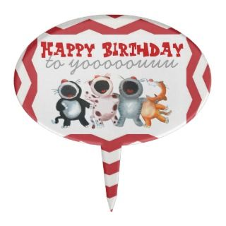funny cute cats singing happy birthday cake toppers