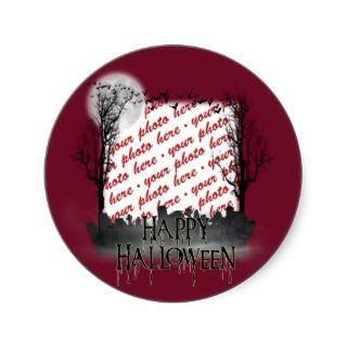Halloween Scene Photo Frame Round Sticker