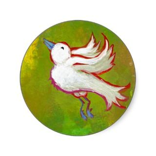 Beautiful hopeful inspirational white bird fun art round sticker