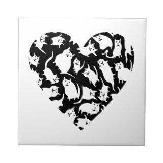 Crazy Cat Heart Decorative Tile