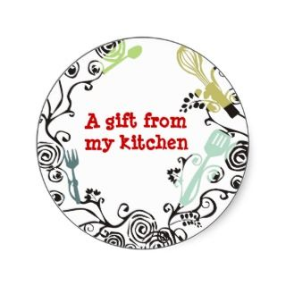 decorative kitchen utensils gift tag stickers