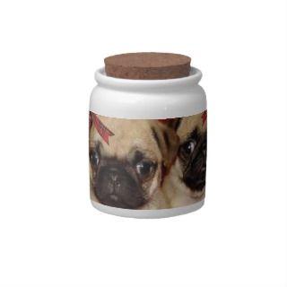 Christmas pug puppies Candy Jar
