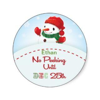 No Peeking until Dec 25th Snowman Gift tag Sticker