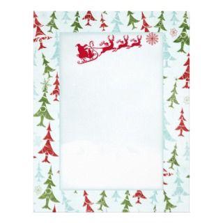 Santa reindeers xmas tree Letter Santa Letterhead