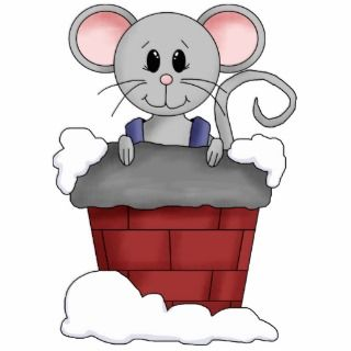 Merry Christmas Mouse In Snowy Chimney Photo Cut Out