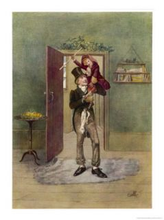 Bob Cratchit with Tiny Tim His Crippled Youngest Son Giclee Print by Frederick Barnard