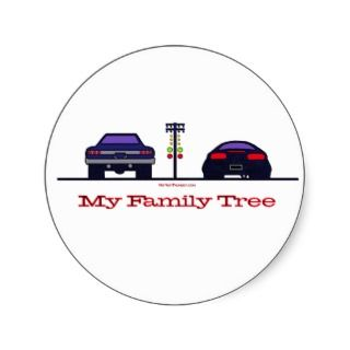 Drag Racing with My Family Tree Round Stickers
