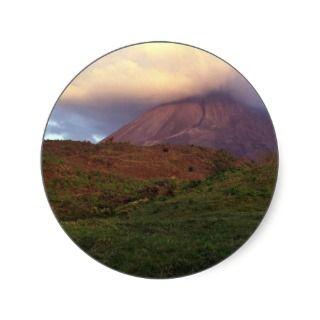 Arenal volcano, Costa Rica Round Stickers