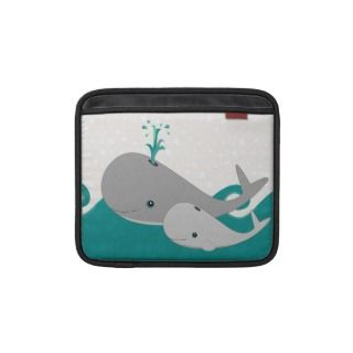 Cute Grey Baby Whale on the Waves Cartoon Sleeves For iPads