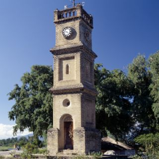 Queen Victoria Clock Tower at Mangochi, Important 19th Century Slave Market Straddling Shire River Photographic Print by Nigel Pavitt