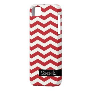 personalized modern chevron red zig zag pattern iPhone 5 cases