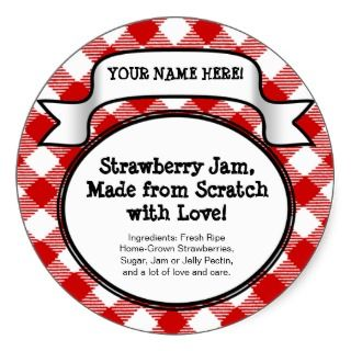 Personalized Canning Jar/Lid Label, Red Gingham Sticker