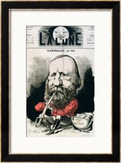 Cover Illustration of La Lune Magazine Featuring Giuseppe Garibaldi, September 1867 Framed Giclee Print