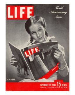10th Anniversary Features Young Girl Reading First Issue of LIFE, November 25, 1946 Photographic Print by Herbert Gehr