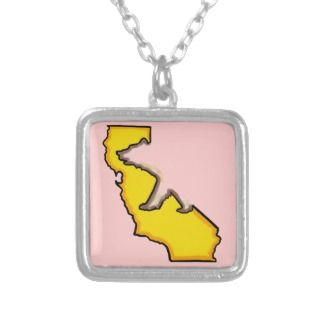 California bear state symbol pink necklace