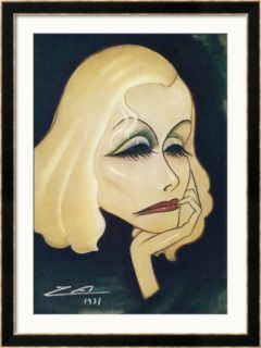 Greta Garbo Swedish American Film Actress a Caricature Framed Giclee Print