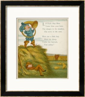 Little Boy Blue, the Horn Blower Stands on Top of the Haystack Framed Giclee Print