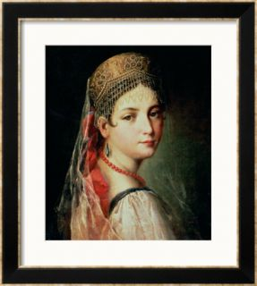 Portrait of a Young Girl in Sarafan and Kokoshnik, 1820s Framed Giclee Print