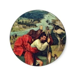 Saint Christopher. By Hieronymus Bosch (Best Quali Round Stickers