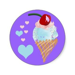 Pink Blue Hearts Ice Cream Cone Round Sticker