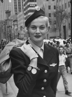 Miss Sweden Anita Ekberg Wearing Hostess Hat for Scandinavian Airlines Designed by Mr. John Premium Photographic Print by Lisa Larsen